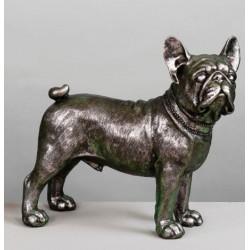 Figura Bulldog plata sentado