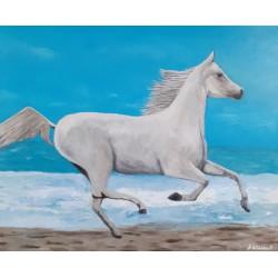 Cuadro caballo blanco en la mar