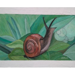Cuadro caracol 40x50 altisent marco relieve blanco