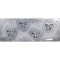Cuadro abstracto mariposas plata Altisent 35x90