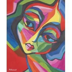 cuadro cara multicolor 50x40