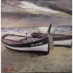 Cuadro barco en la playa 30x30 Altisent