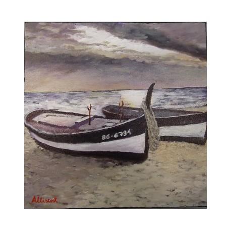 Cuadro barco en la playa 30x30