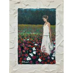 Cuadro mujer en campo de flores 40x30 Altisent
