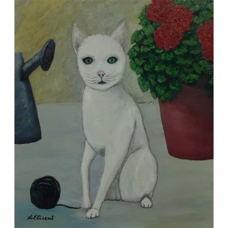 Cuadro gato sentado